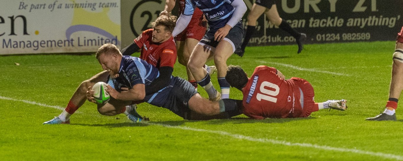 Northampton's James Fish scores a try for Bedford Blues