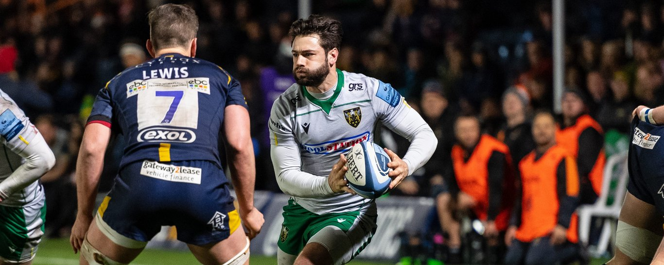 Henry Taylor attacks for Northampton Saints