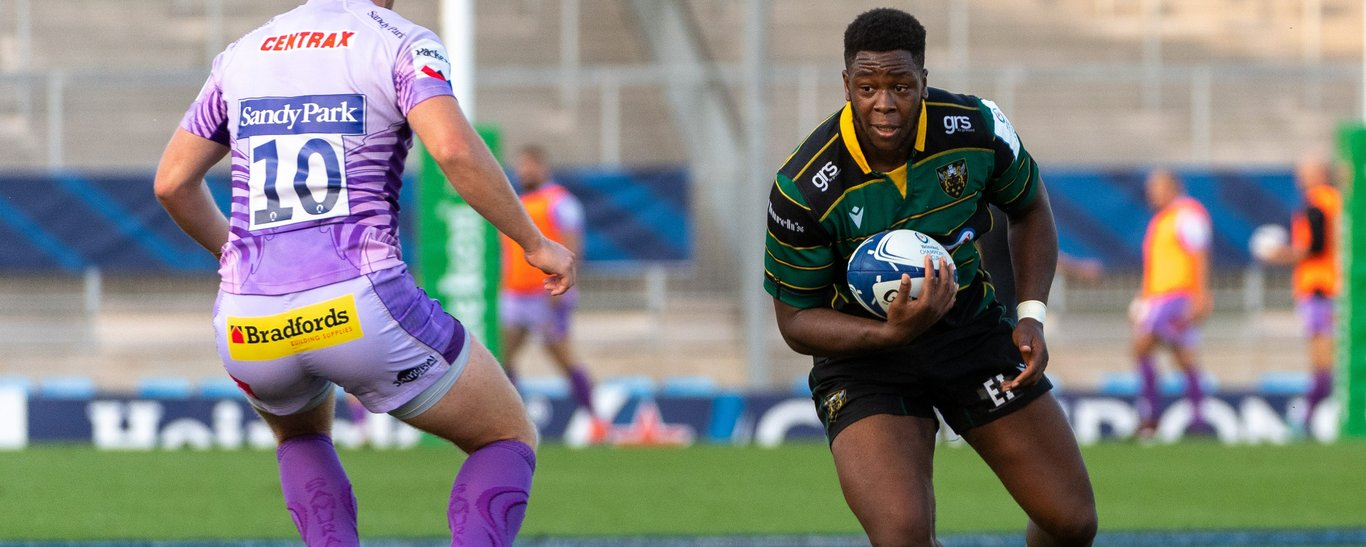 Emmanuel Iyogun in action for Northampton Saints