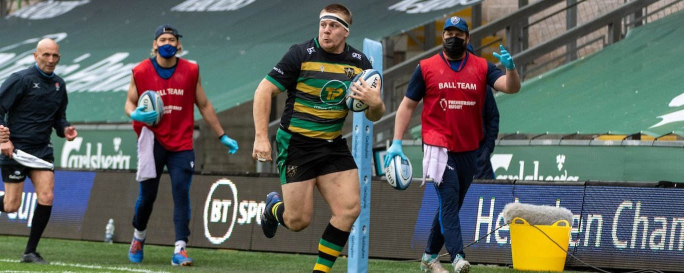 Paul Hill in action for Northampton Saints against Bristol