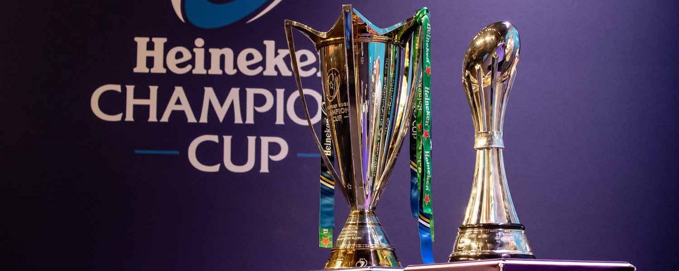 The Heineken Champions Cup and Challenge Cup trophies
