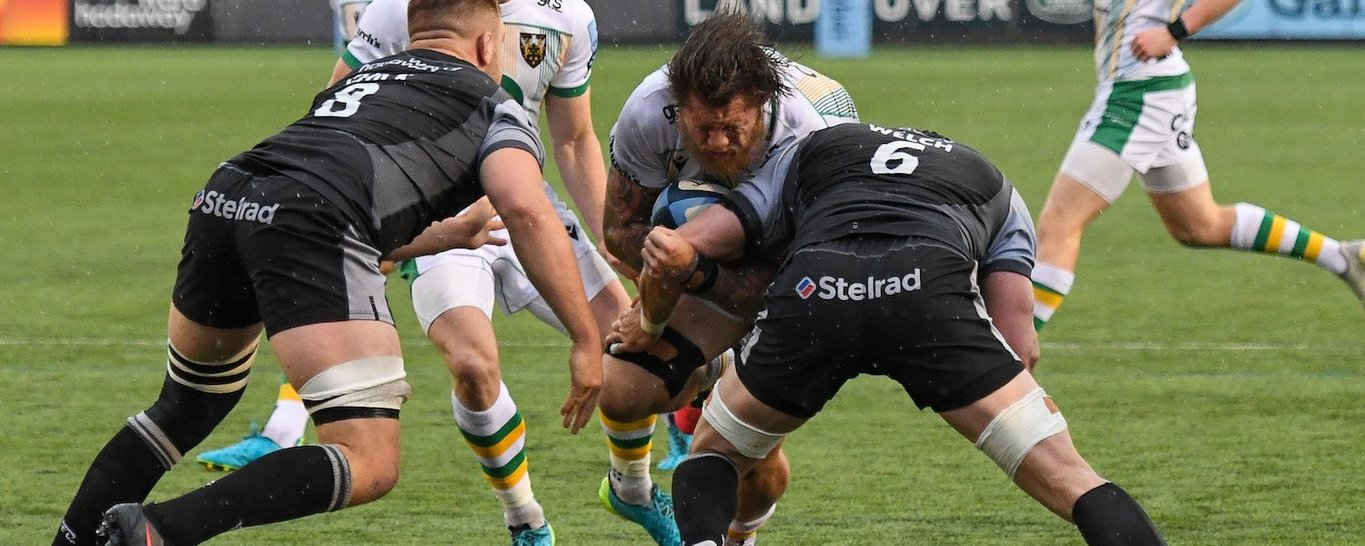 Teimana Harrison in action for Northampton Saints against Newcastle