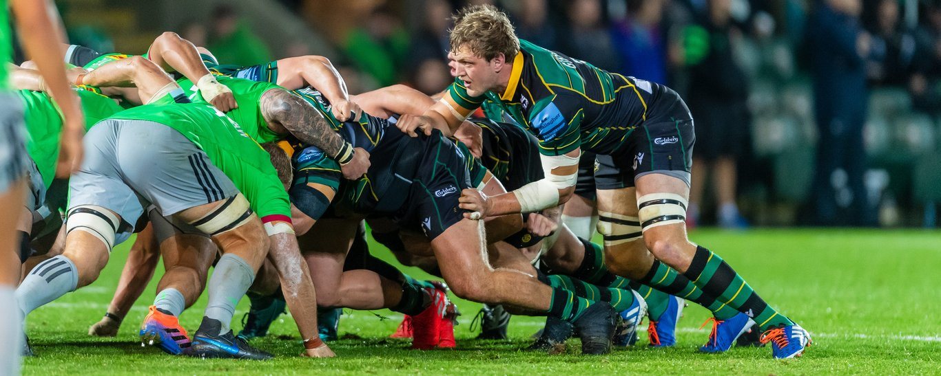 Jamie Gibson in action for Northampton Saints