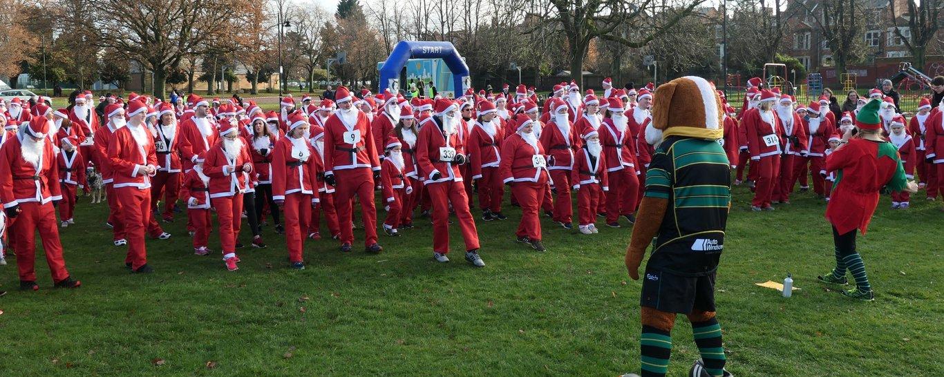 Bernie leads off the Santa Fun Run in 2019