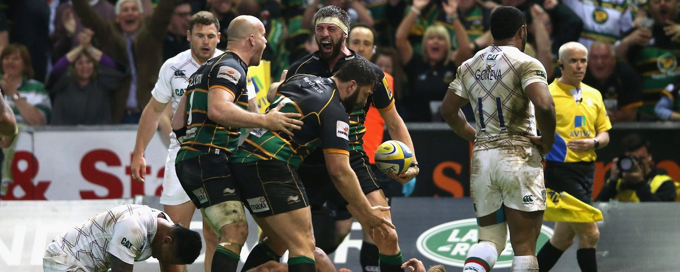 Tom Wood scores an iconic try for Northampton Saints