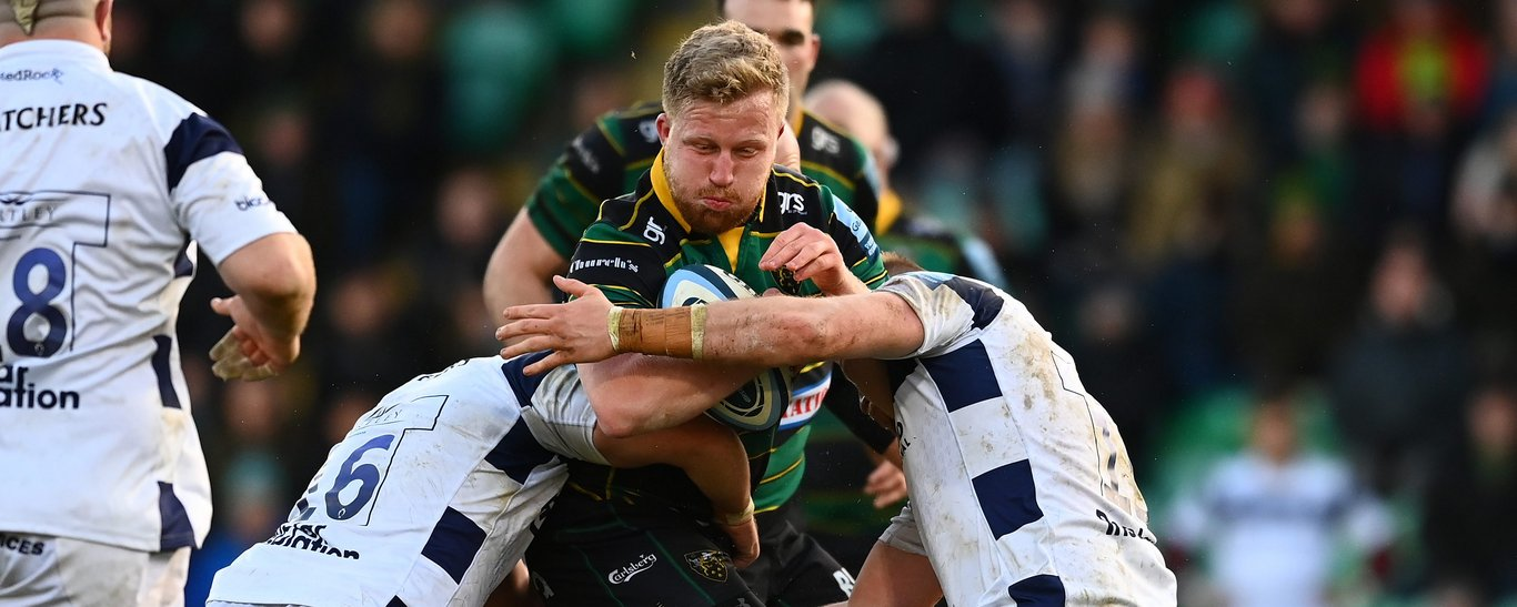 James Fish carries for Northampton Saints