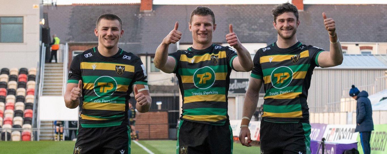 Ollie Sleightholme, Fraser Dingwall and James Grayson celebrate
