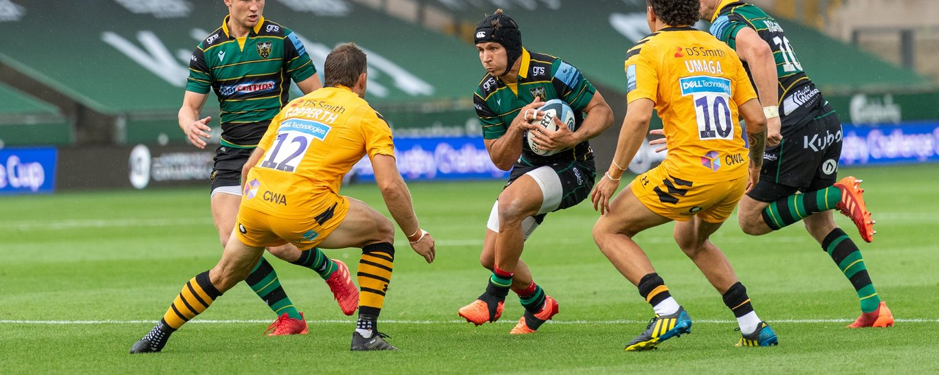 Saints centre Piers Francis carries against Wasps