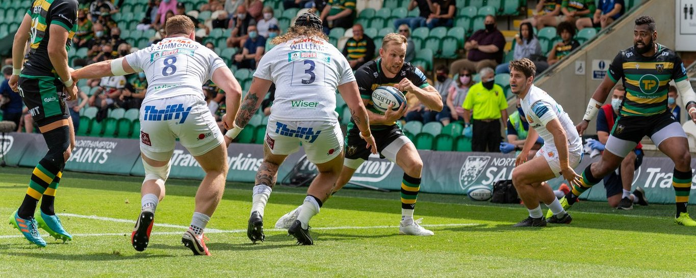 Rory Hutchinson in action for Northampton Saints against Exeter