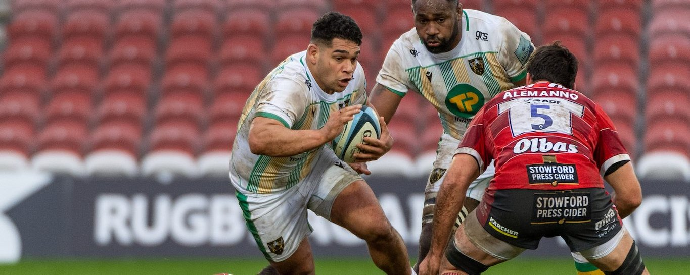 Sam Matavesi carries for Northampton Saints