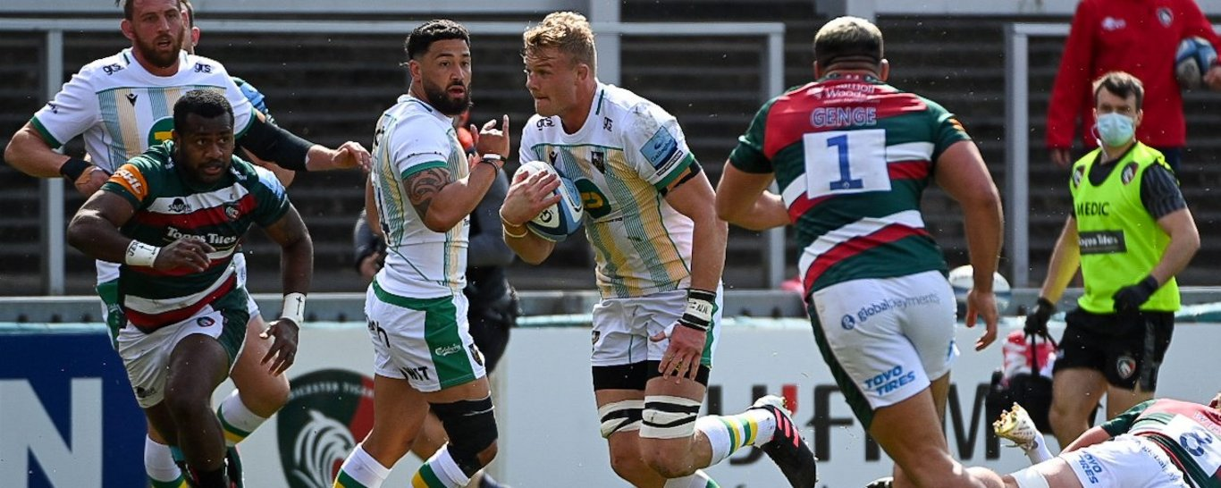 David Ribbans in action for Northampton Saints against Leicester Tigers