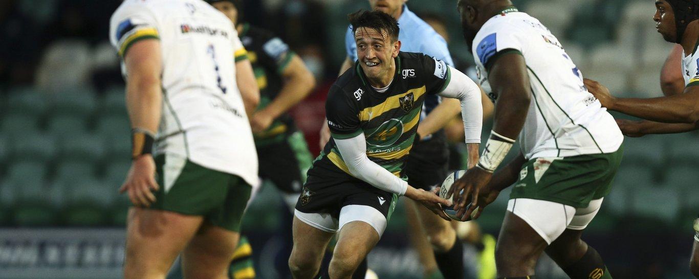 Northampton Saints' Alex Mitchell on the charge