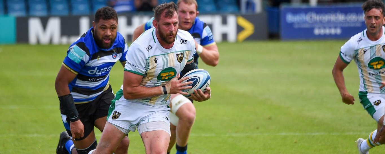 Tom Wood of Northampton Saints against Bath