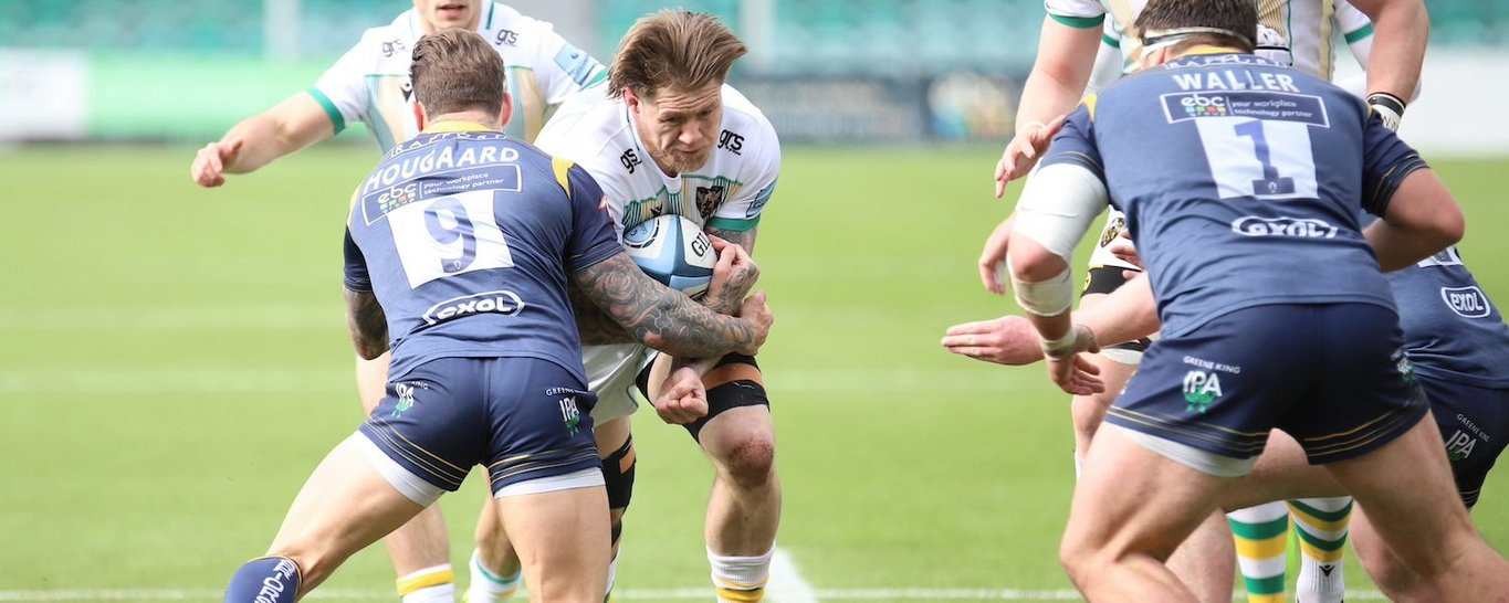 Teimana Harrison in action for Northampton Saints against Worcester