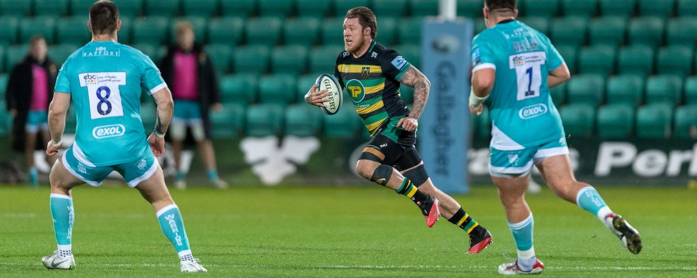 Teimana Harrison in action for Northampton Saints against Worcester Warriors