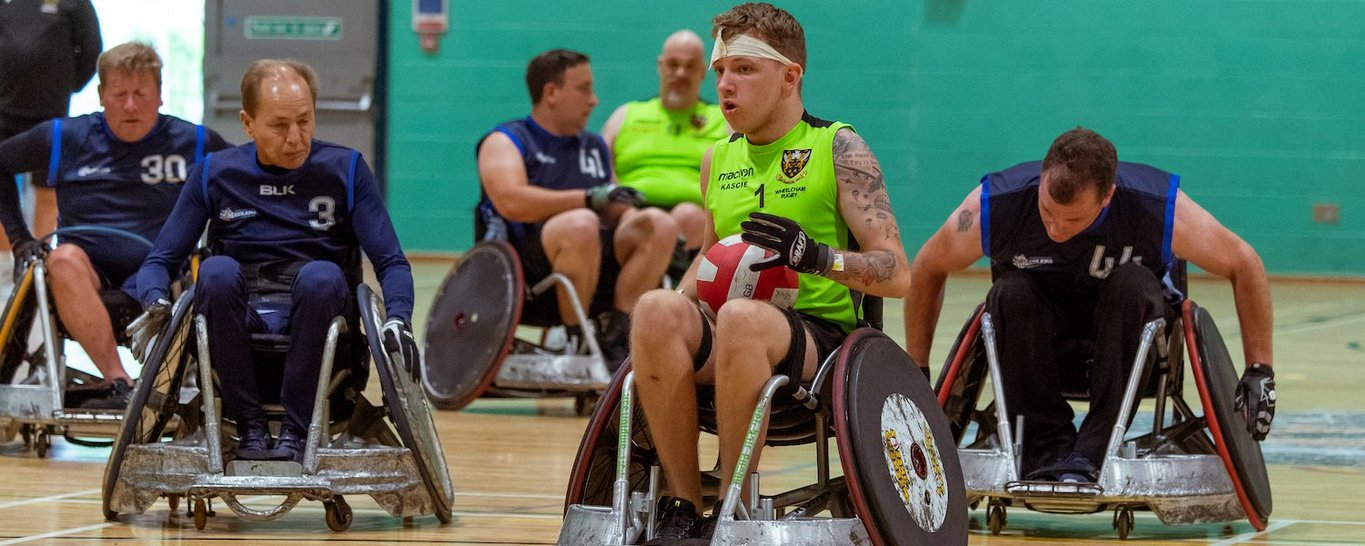 Saints Wheelchair Rugby side in action