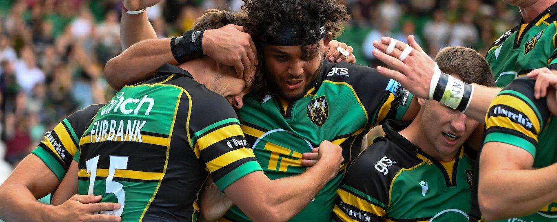 Northampton Saints celebrate a try