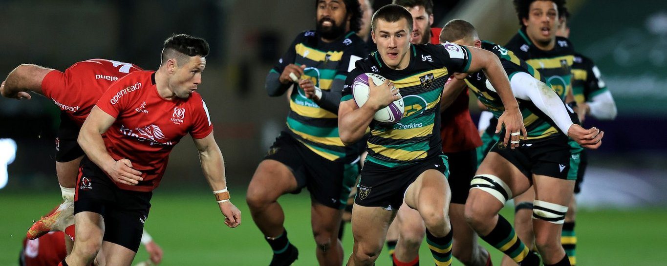 Ollie Sleightholme of Northampton Saints against Ulster