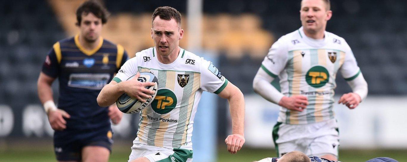 Northampton Saints' Tom James on the charge