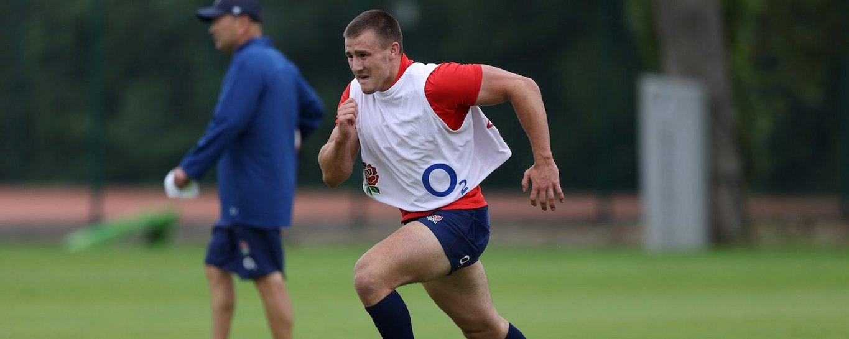 Ollie Sleightholme of Northampton Saints trains with England