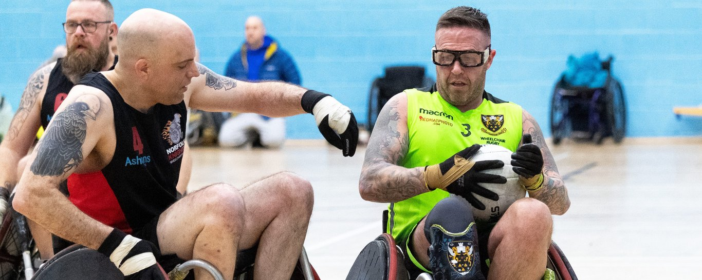 Gerry Mac in action for Saints Wheelchair Rugby