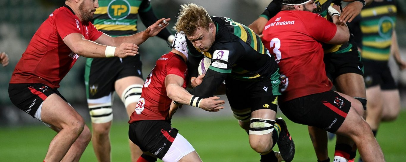 David Ribbans in action for Northampton Saints against Ulster