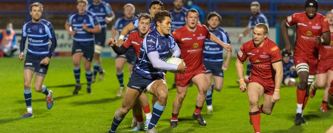 Saints' Josh Gillespie on the charge for Bedford Blues