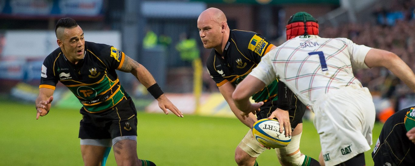 Sam Dickinson on the charge for Northampton Saints
