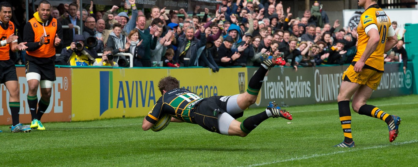 Stephen Myler scores on of Saints' 11 tries against Wasps