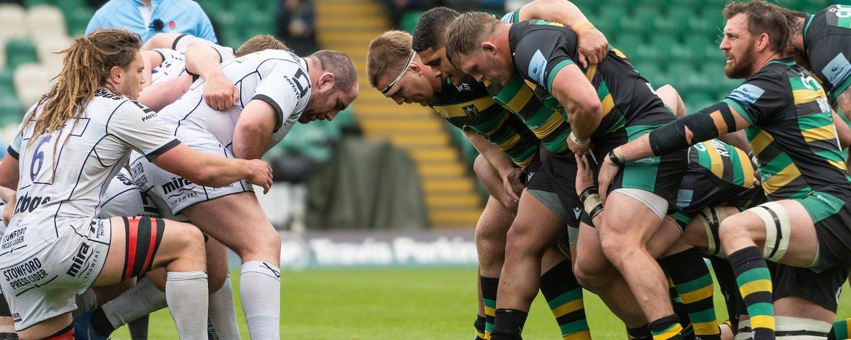 Alex Waller of Northampton Saints against Gloucester