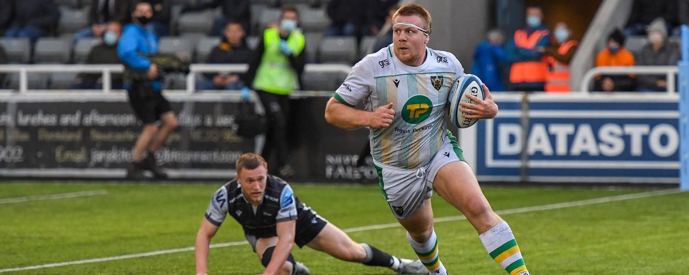 Paul Hill in action for Northampton Saints against Newcastle