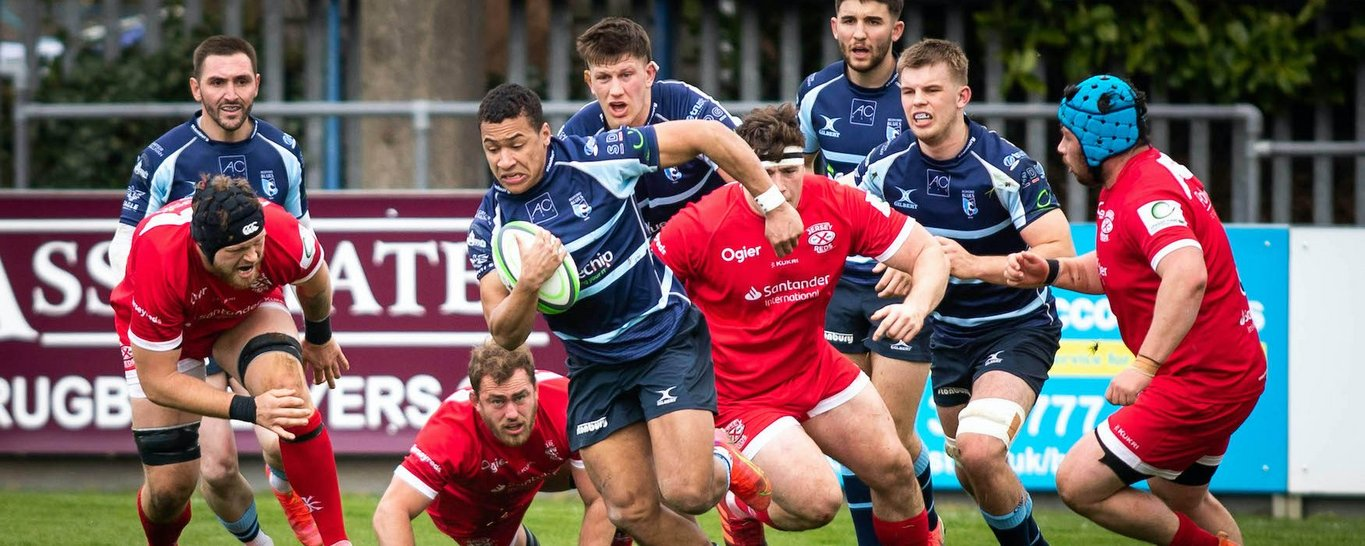Northampton Saints' Reuben Bird-Tulloch on the charge for Bedford Blues
