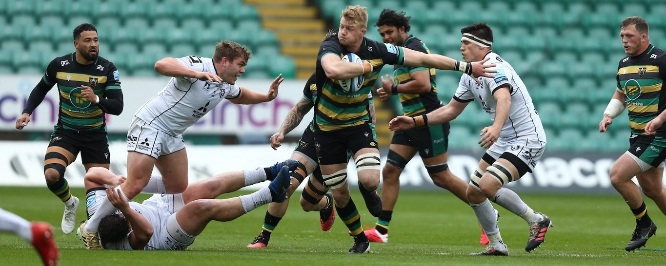 David Ribbans in action for Northampton Saints against Gloucester