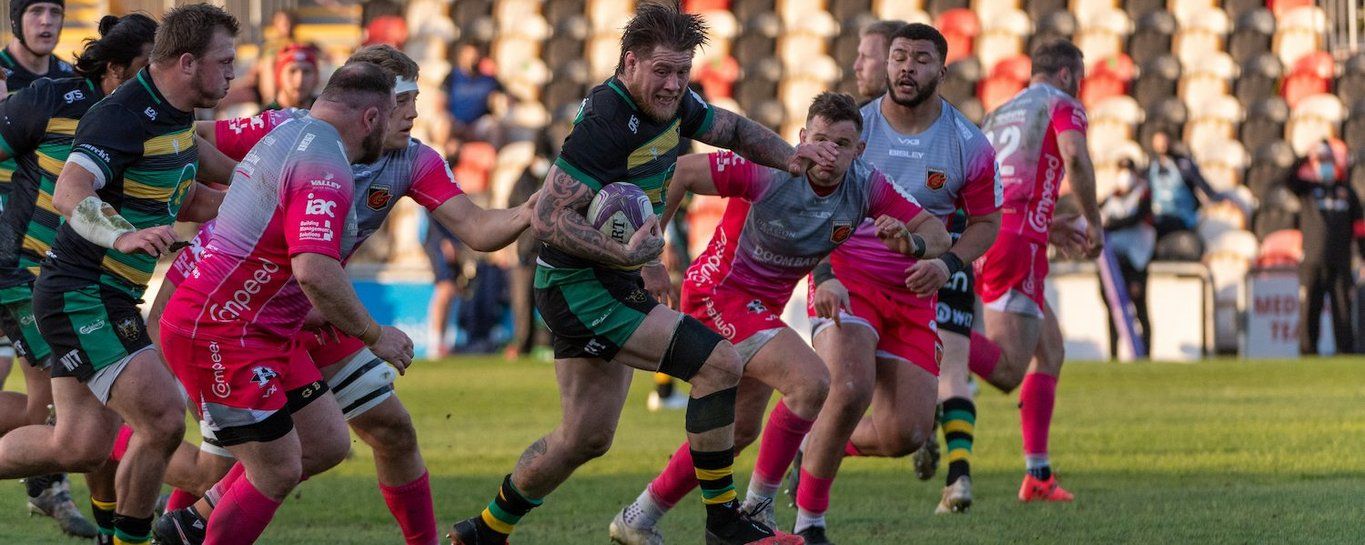 Teimana Harrison in action for Northampton Saints against Dragons