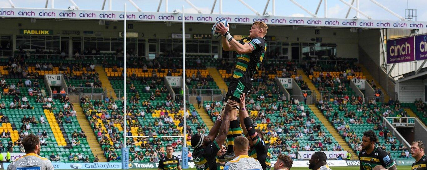 Northampton Saints' David Ribbans rises in the lineout against Wasps