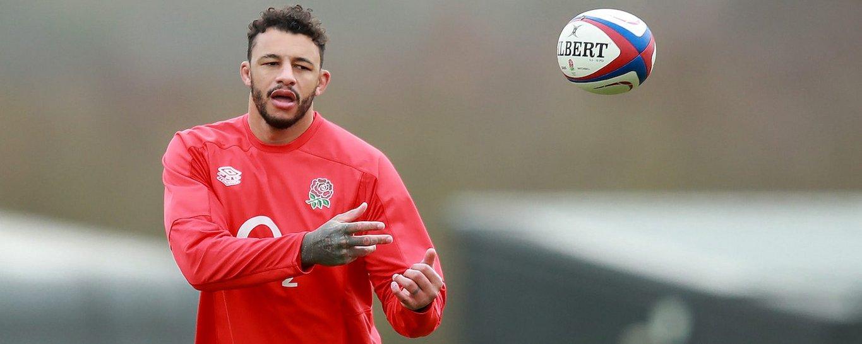 Courtney Lawes of Northampton Saints trains with England