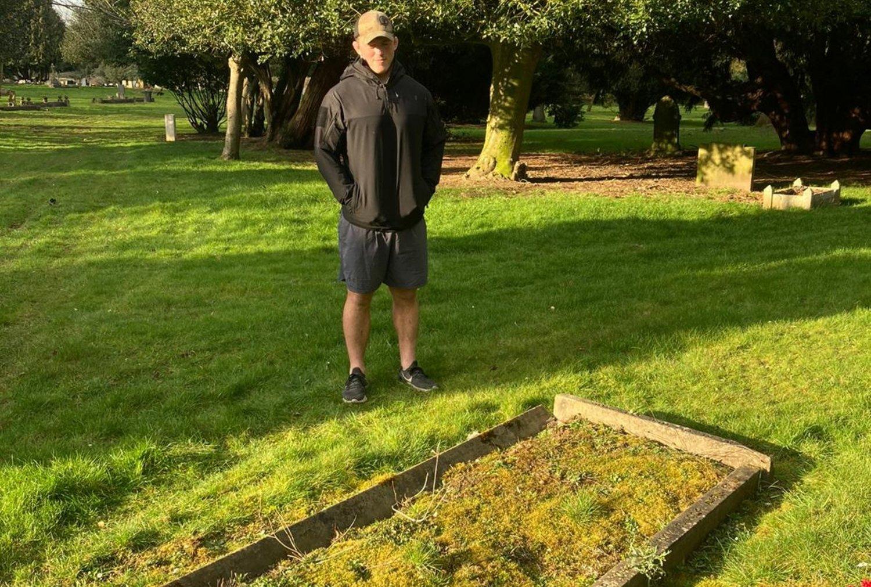 Saints captain Alex Waller visited Dallington Cemetery