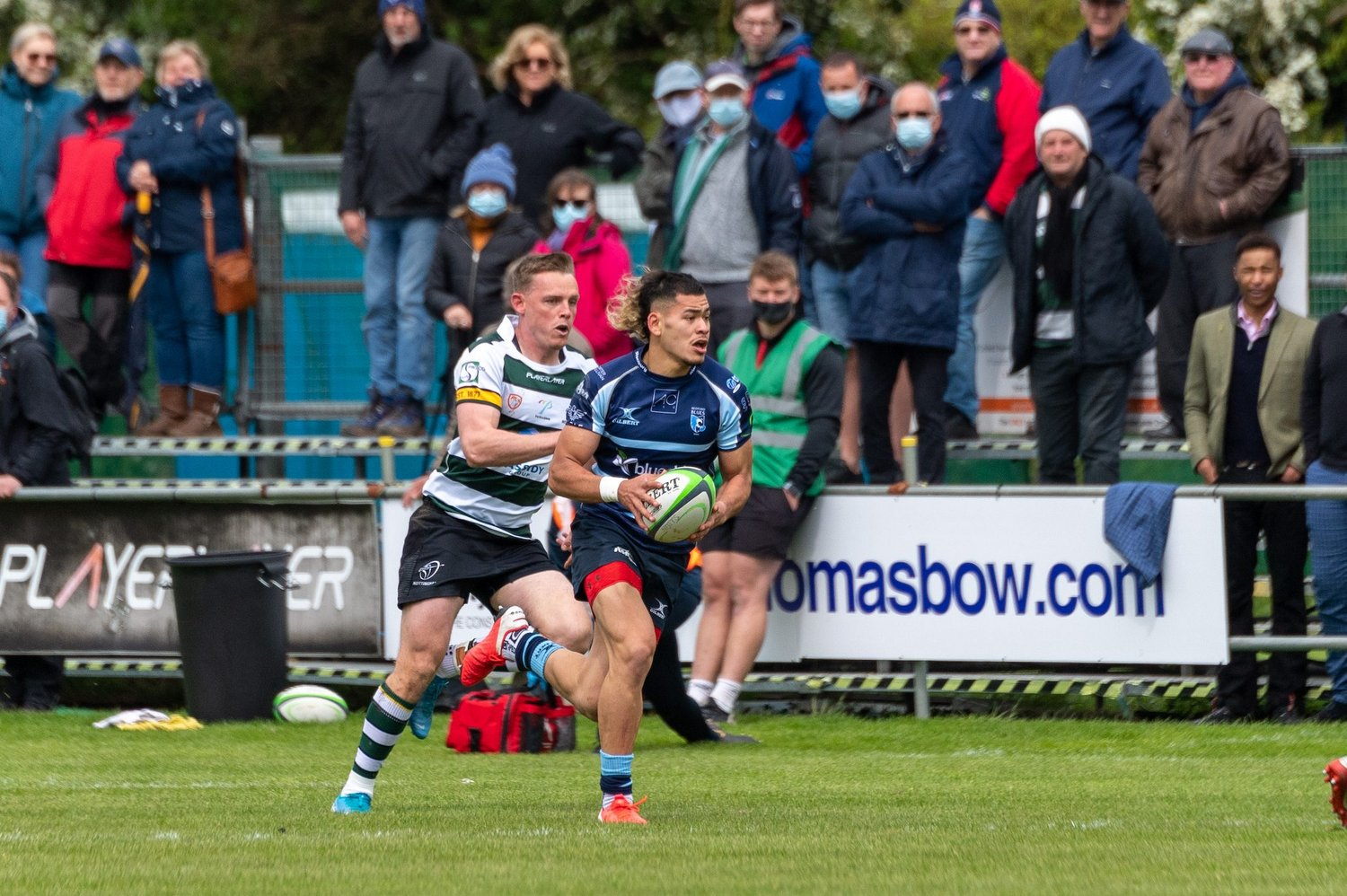 Connor Tupai of Northampton Saints on the charge for Bedford