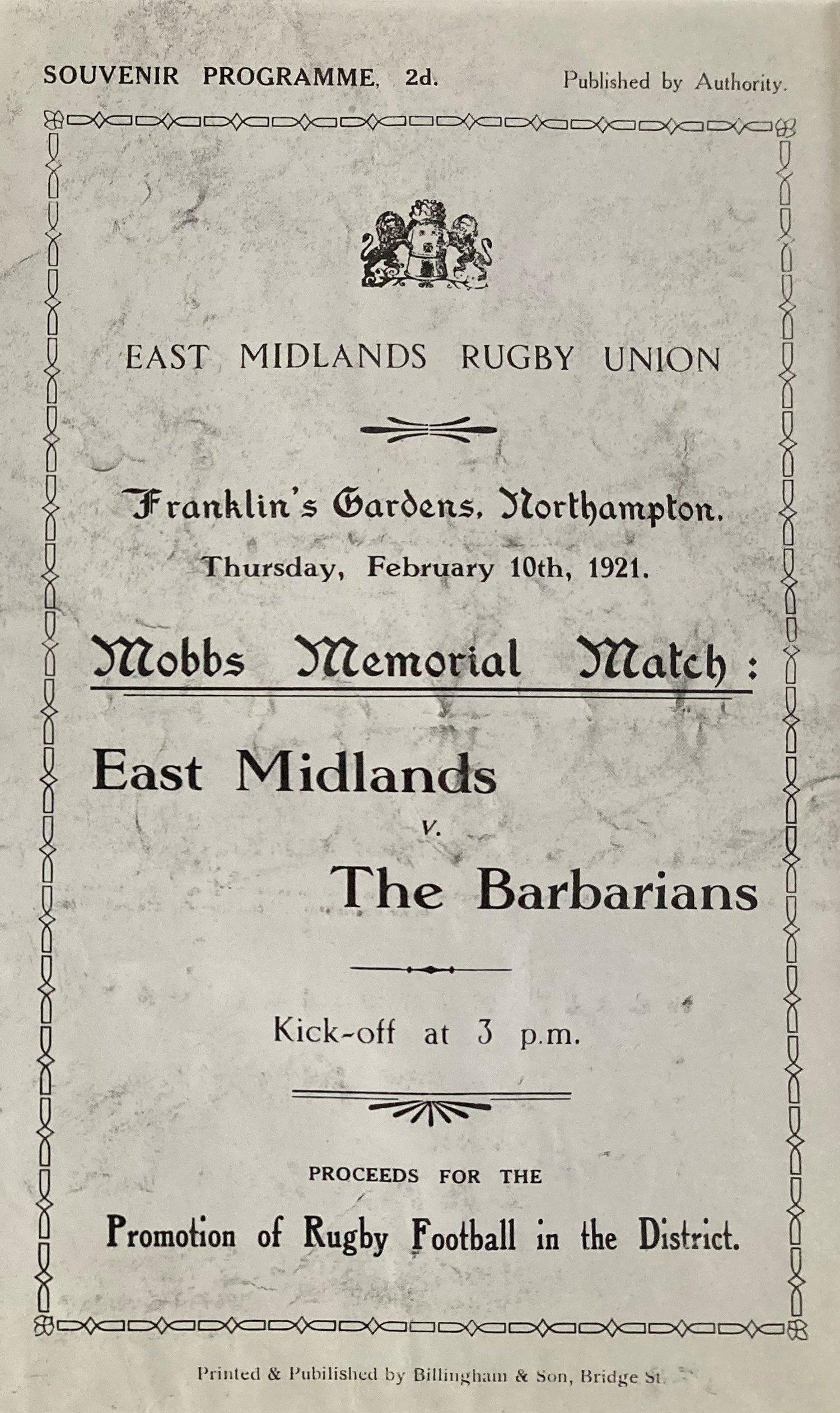 Mobbs Memorial programme