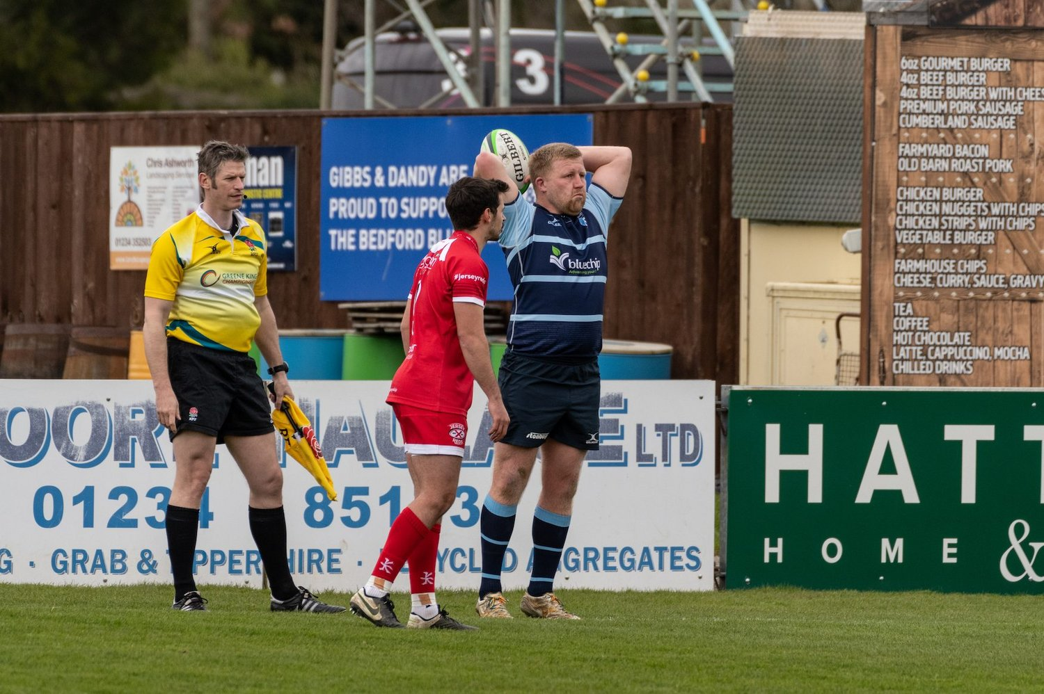 Saints' James Fish prepares to throw a lineout for Bedford Blues