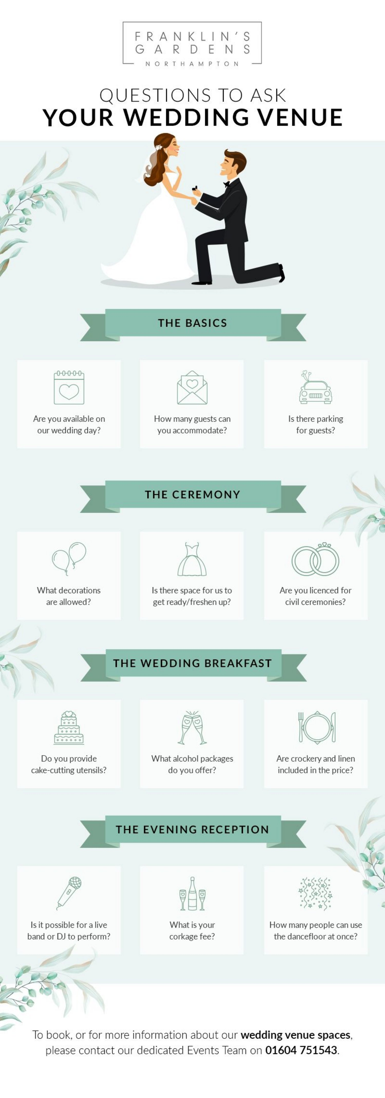 To help you make sure you know all the essential information, read our list of the key questions you should be asking your potential wedding venue.