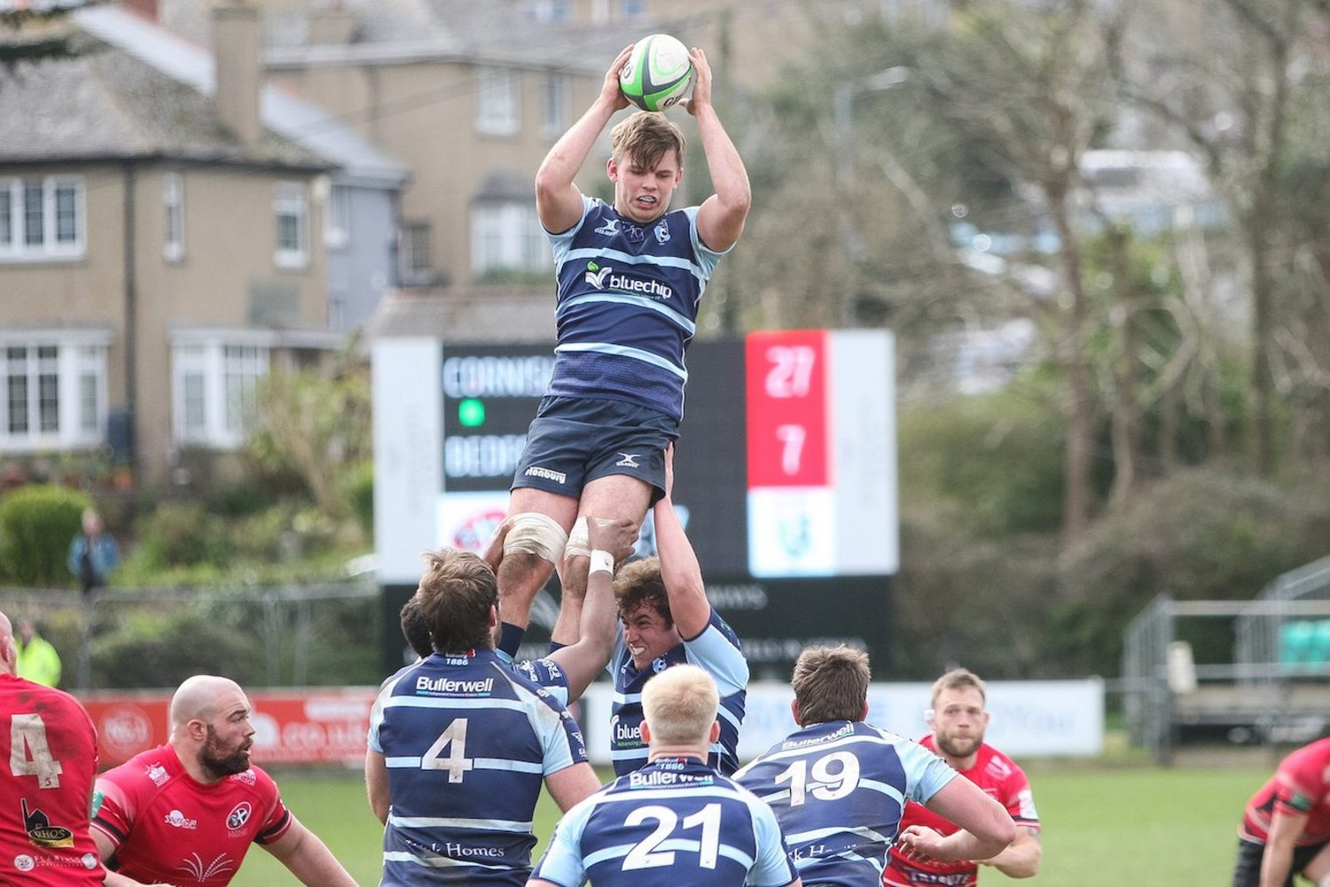Saints' Ollie Newman claims the lineout ball for Bedford Blues.