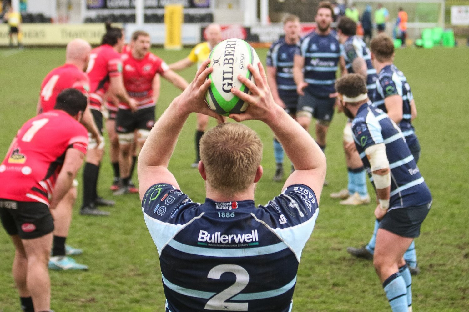 Saints' James Fish prepares to throw a lineout for Bedford Blues.