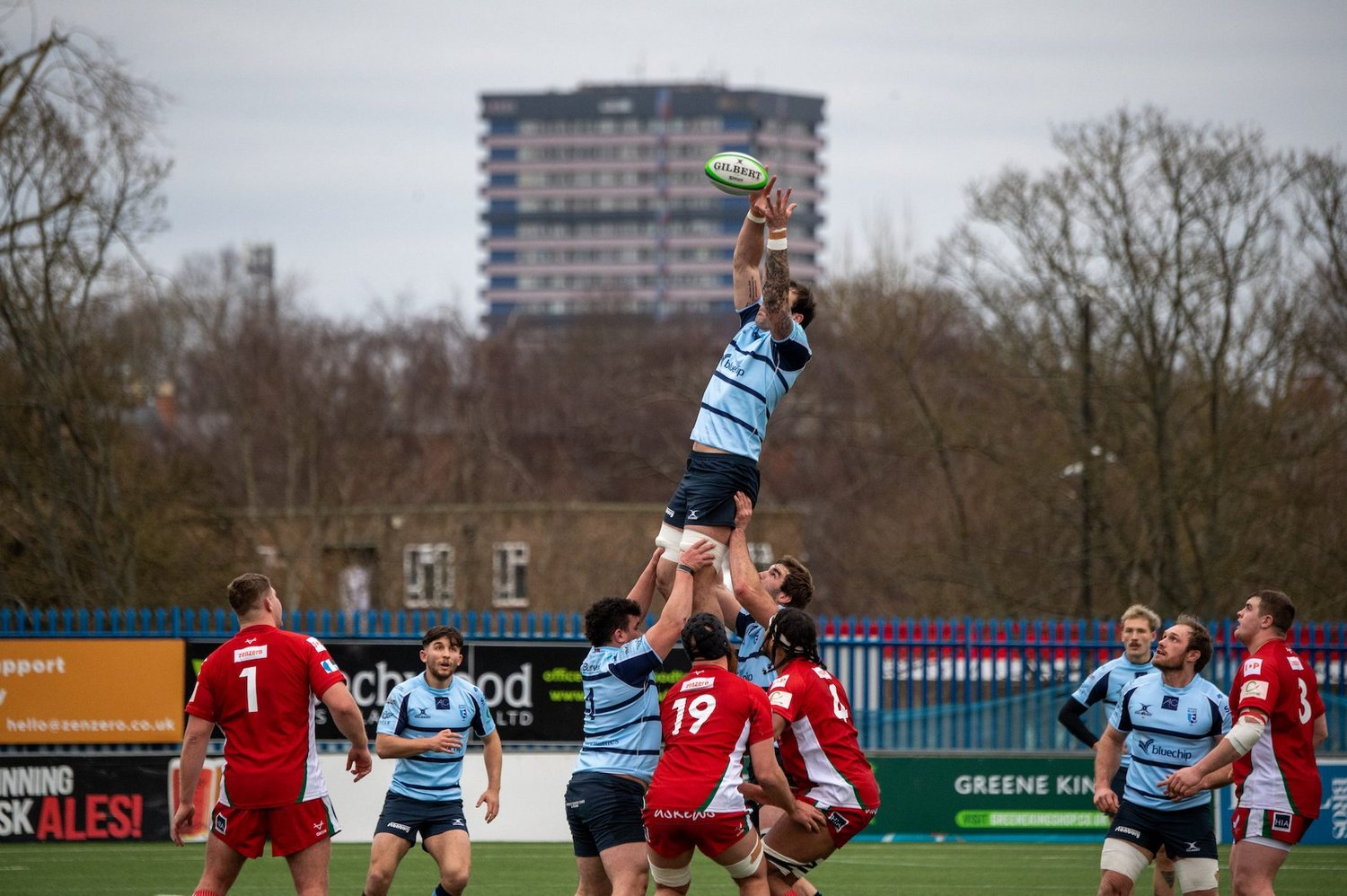 Northampton Saints' Lewis Bean rises in the lineout for Bedford Blues