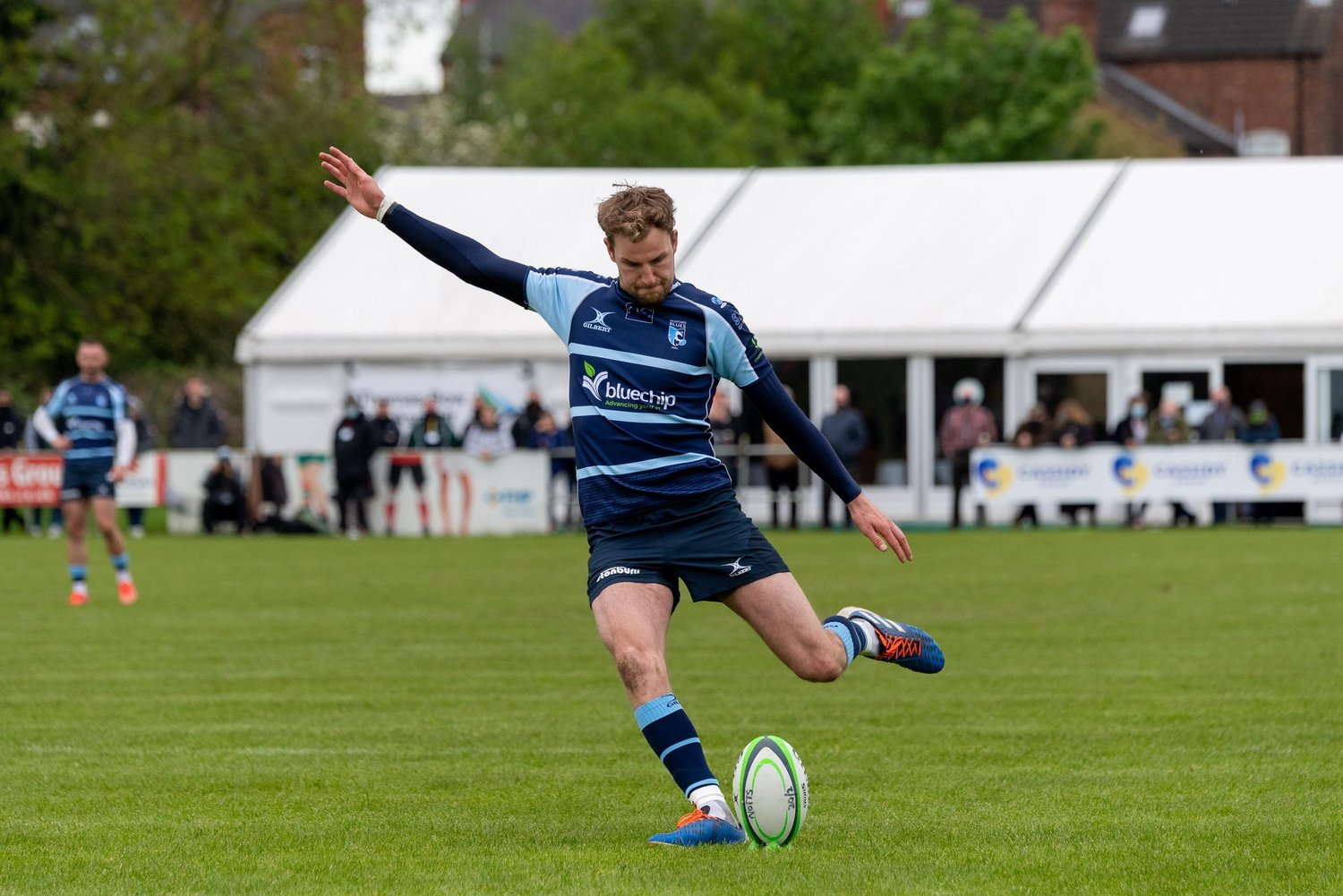 Will Maisey kicks a penalty for Bedford Blues