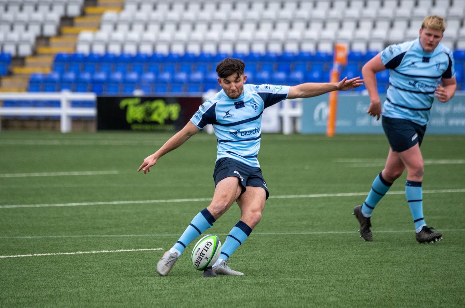Northampton Saints' Tommy Mathews kicks a penalty for Bedford Blues