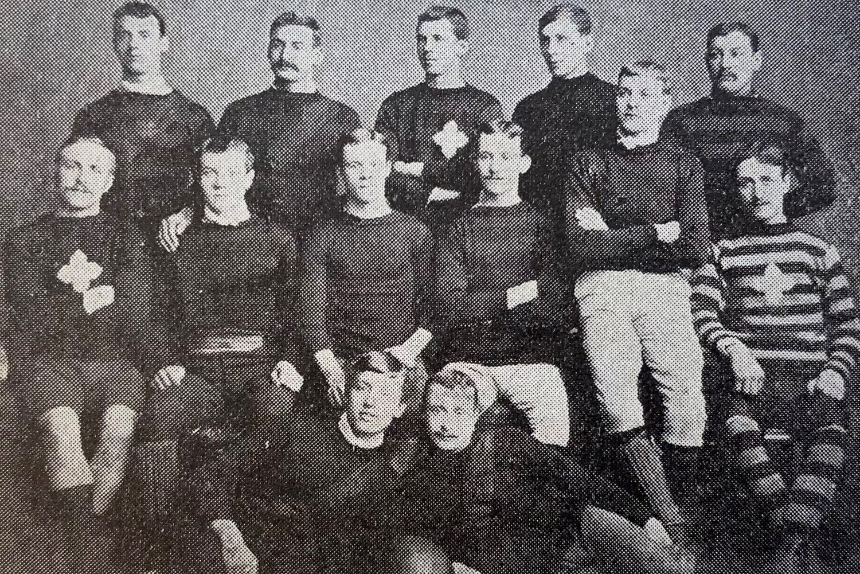 Northampton Saints in 1886; Jim Barker is back row, far right