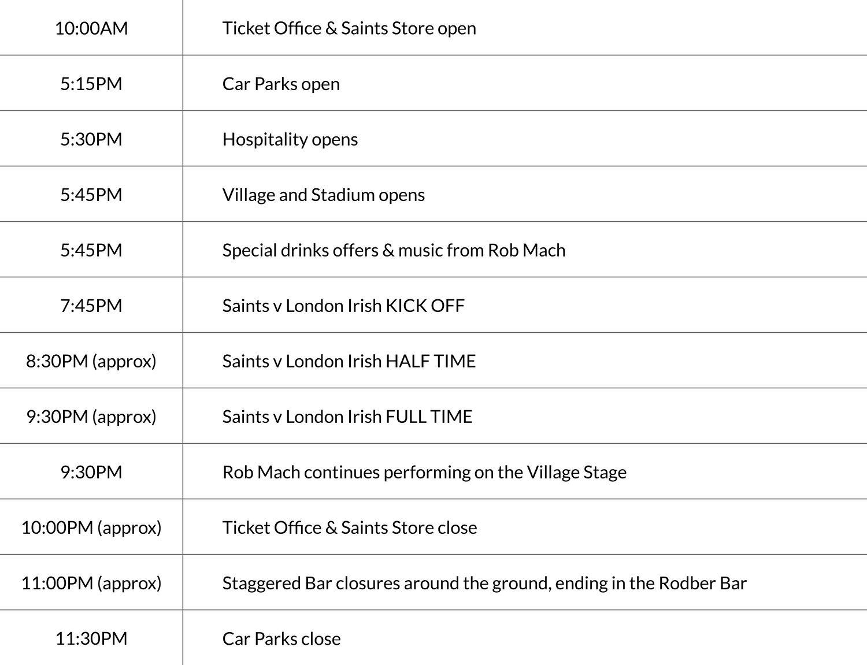 GTTG Timetable