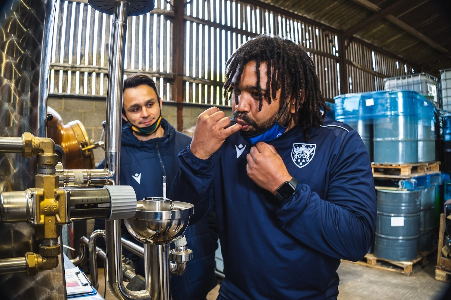 Saints' players were on hand to help bottling and labelling the limited-edition Gin
