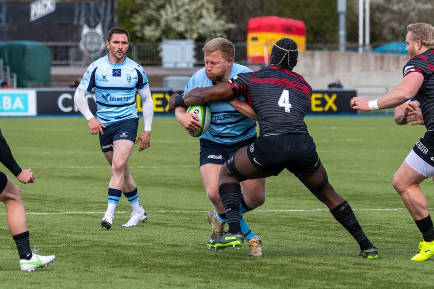 James Fish is tackled by Maro Itoje